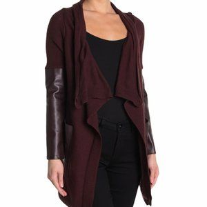 Blank NYC - Faux Leather Panel Open Front Cardigan